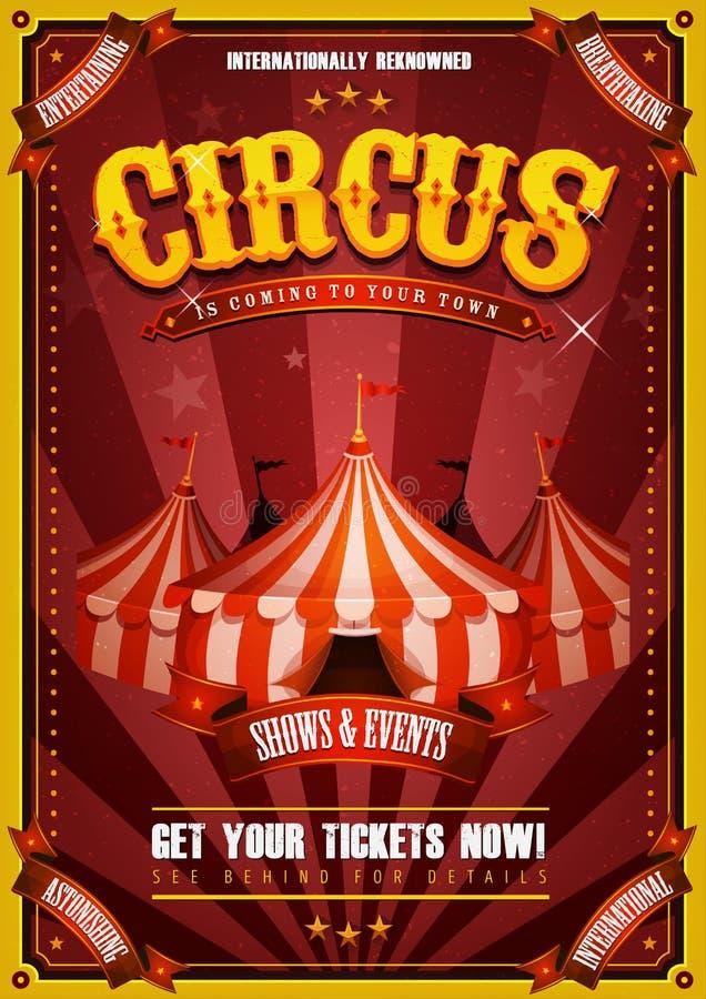 Cartel del circo del vintage con el top grande stock de ilustración