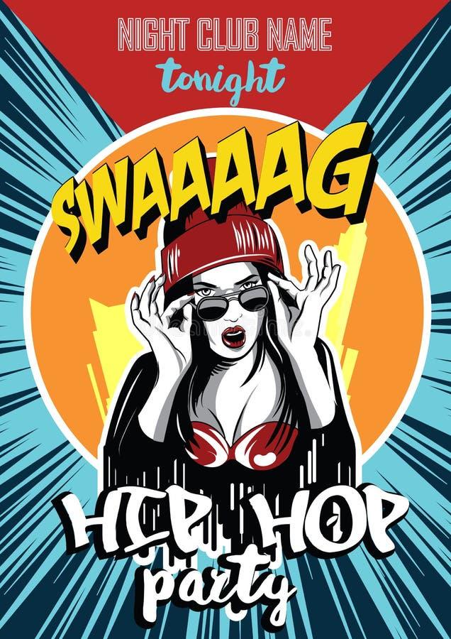 Cartel del club de noche del hip-hop Muchacha urbana bastante joven del rap stock de ilustración