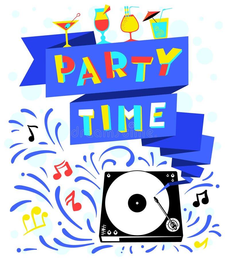 Cartel del club nocturno Letras del tiempo del partido Wi del bacground de la celebración libre illustration