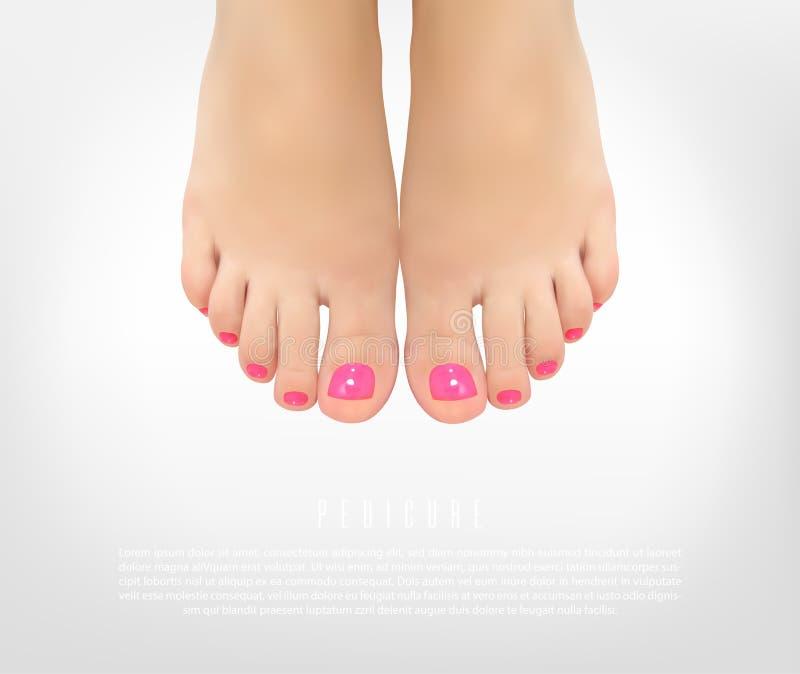 Cartel del concepto de la manicura de la pedicura con los pies femeninos libre illustration