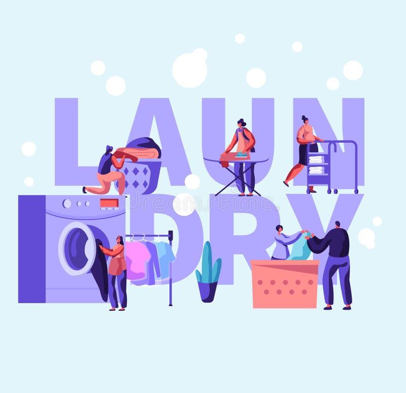 Cartel del concepto del lavadero con el varón y los caracteres femeninos que cargan la ropa sucia a la lavadora en la lavandería  stock de ilustración