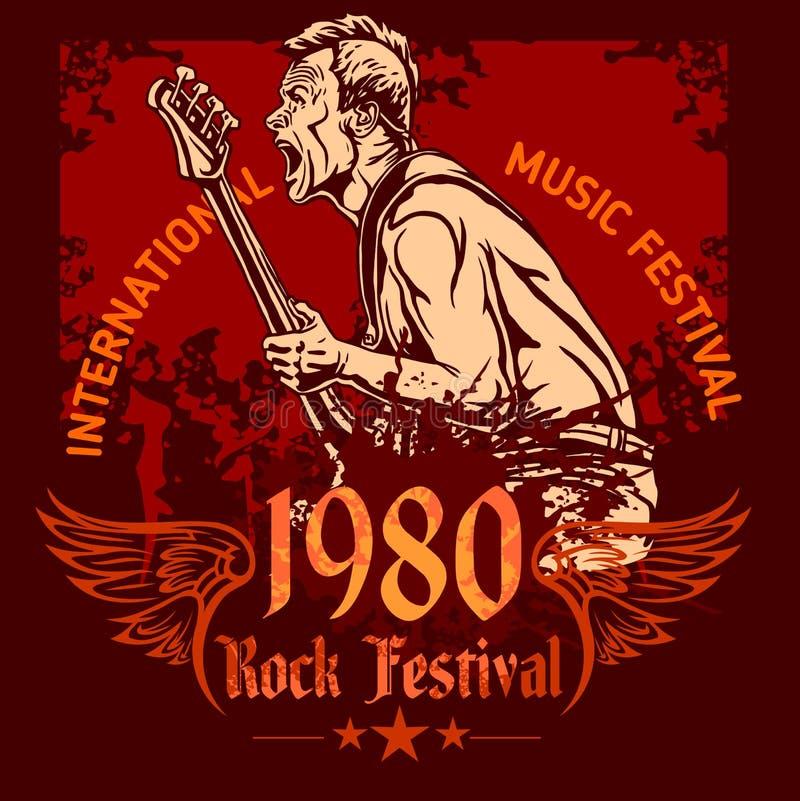 Cartel del concierto de rock - años 80 Ilustración del vector ilustración del vector