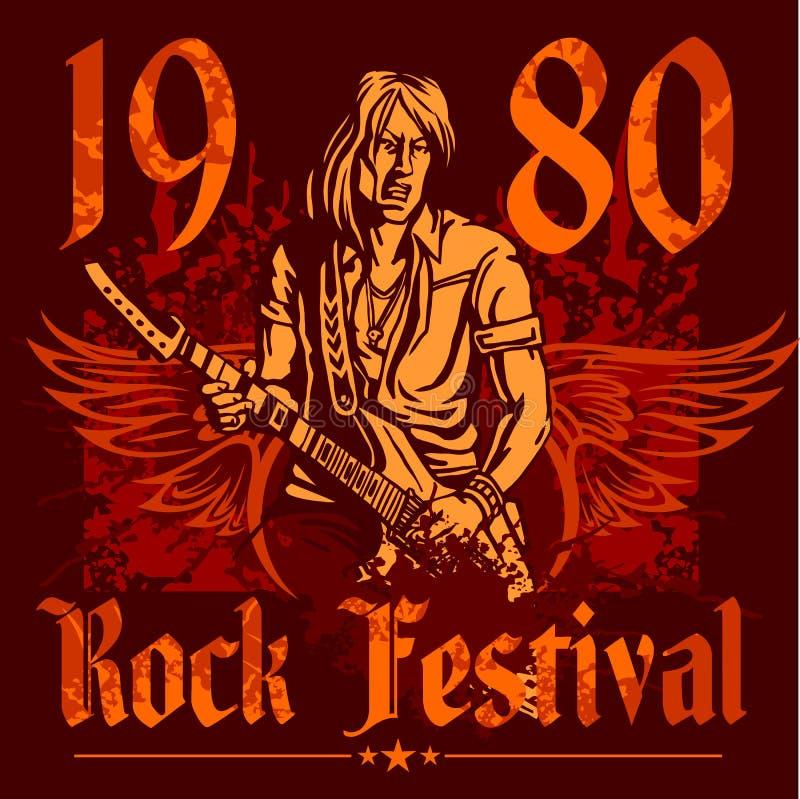 Cartel del concierto de rock - años 80 Ilustración del vector libre illustration