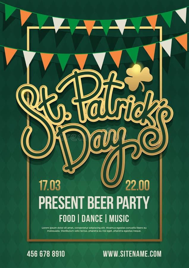 Cartel del día de fiesta con las letras dibujadas mano: Día del ` s de St Patrick y con la guirnalda de banderines coloreados libre illustration