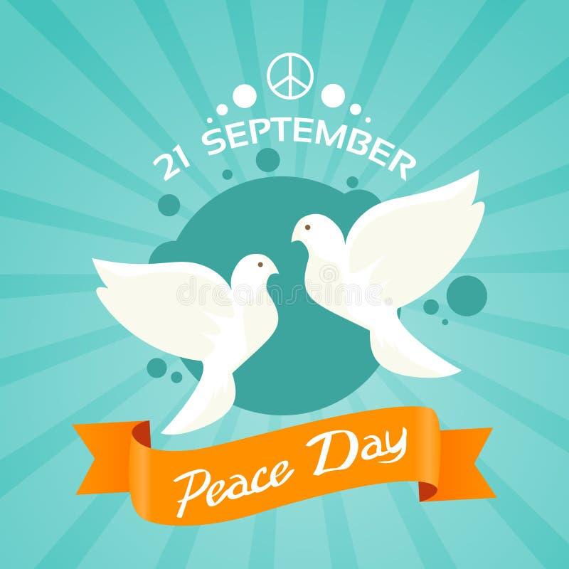 Cartel del día de fiesta del día de la paz de dos palomas stock de ilustración