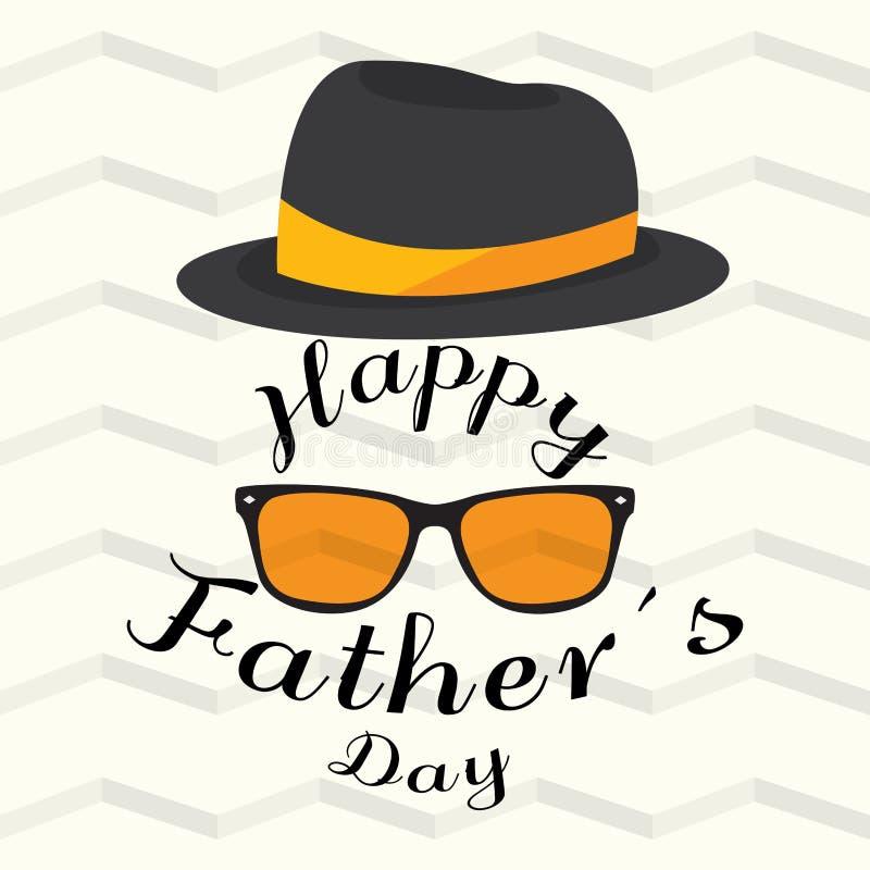Cartel del día de padre con vidrios y un sombrero stock de ilustración