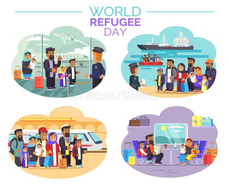 Cartel del día de refugiado de mundo con la gente que separa ilustración del vector