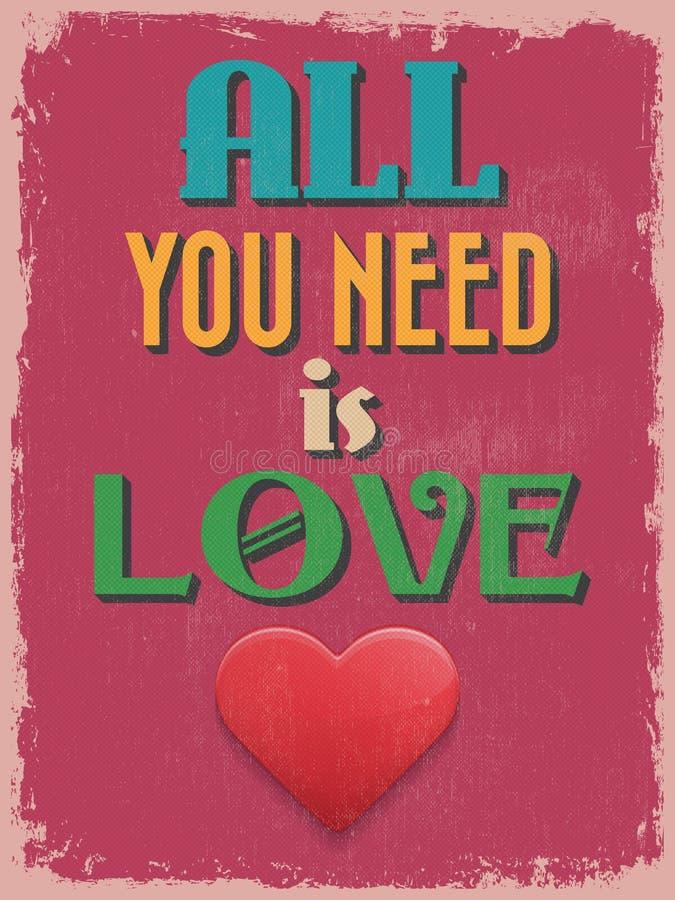 Cartel del día de tarjeta del día de San Valentín Diseño retro de la vendimia libre illustration