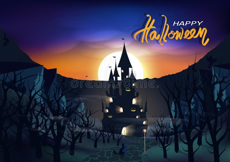 Cartel del día del feliz Halloween, tarjeta, invitación, castillo en el bosque oscuro, fantasía de la tierra, gato del fantasma e ilustración del vector