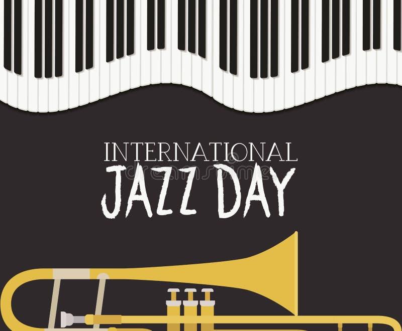 Cartel del día del jazz con el teclado y la trompeta de piano libre illustration
