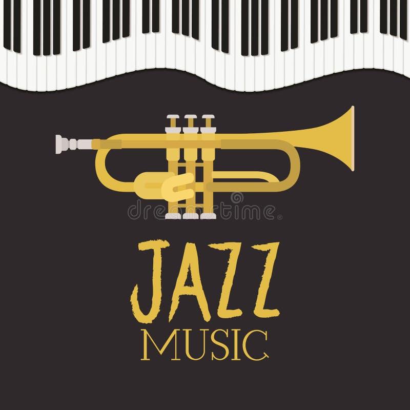 Cartel del día del jazz con el teclado y la trompeta de piano stock de ilustración