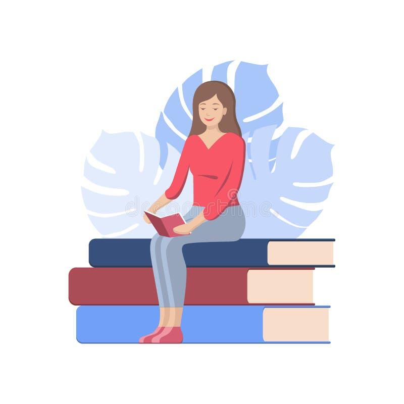Cartel del día del libro del mundo Mujer que lee un libro, vector del icono, ejemplo plano de la historieta del aficionado a los  stock de ilustración