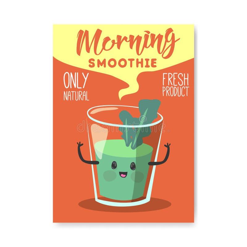Cartel del día del vegano, bandera, aviador Diseño vegetariano del día de fiesta del mundo con el Smoothie natural Concepto sano  libre illustration