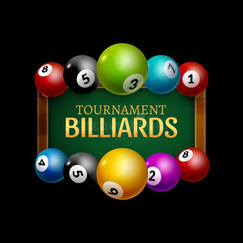 Cartel del desafío del billar del vector bolas realistas 3d en la tabla de billar con la lámpara Campeonato de la cubierta del di stock de ilustración
