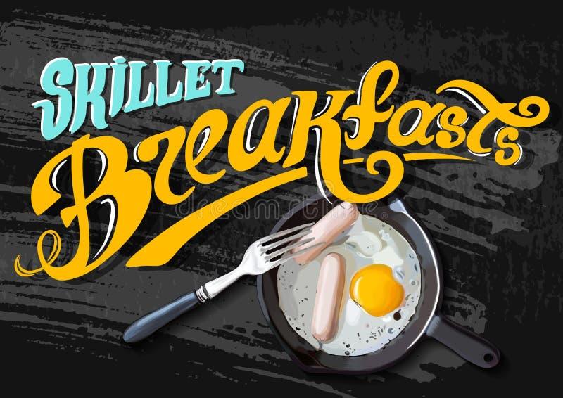 Cartel del desayuno Huevos fritos y salchicha en la cacerola Ilustración del vector Siempre fresco stock de ilustración