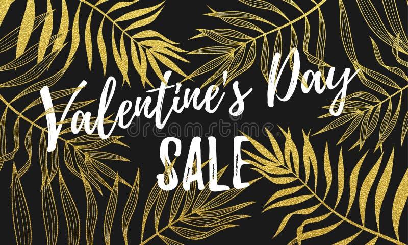 Cartel del descuento de la venta de Valentine Day o plantilla del diseño de la bandera de la fuente de hoja de palma de oro del m ilustración del vector