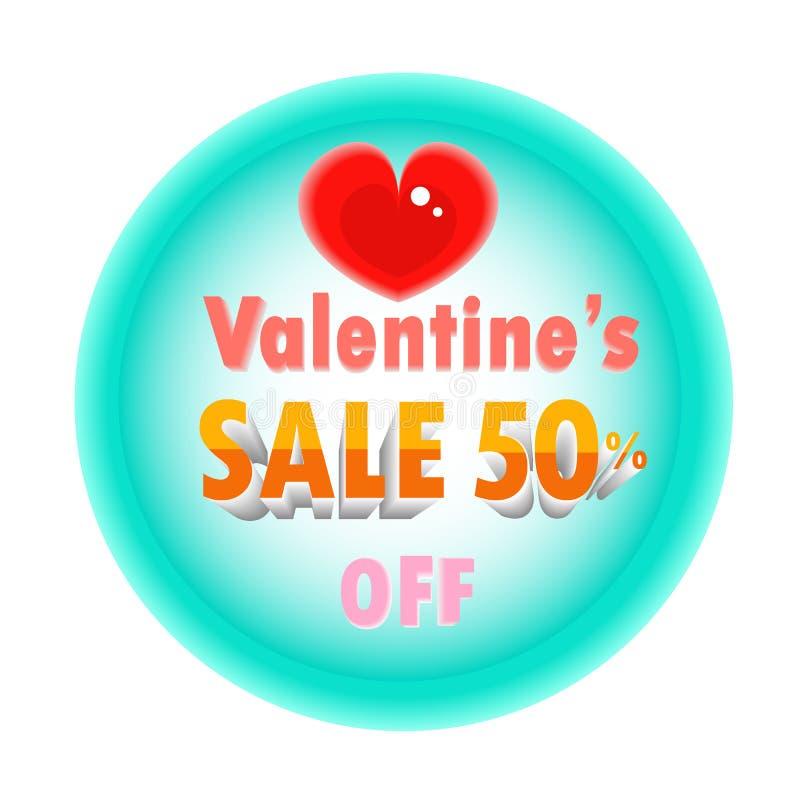 Cartel del descuento de las tarjetas del día de San Valentín ilustración del vector
