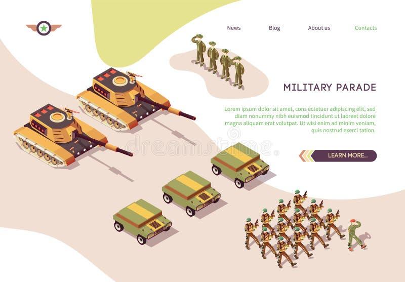 Cartel del desfile militar con base de ejército y esqueleto stock de ilustración