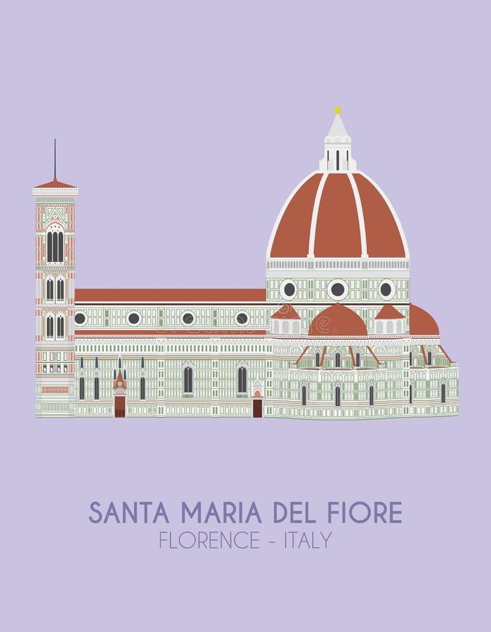 Cartel del diseño moderno con el fondo colorido de Santa Maria del Fiore Florence, Italia ilustración del vector