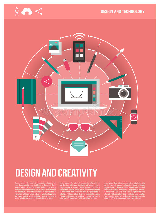 Cartel del diseño y de la creatividad stock de ilustración