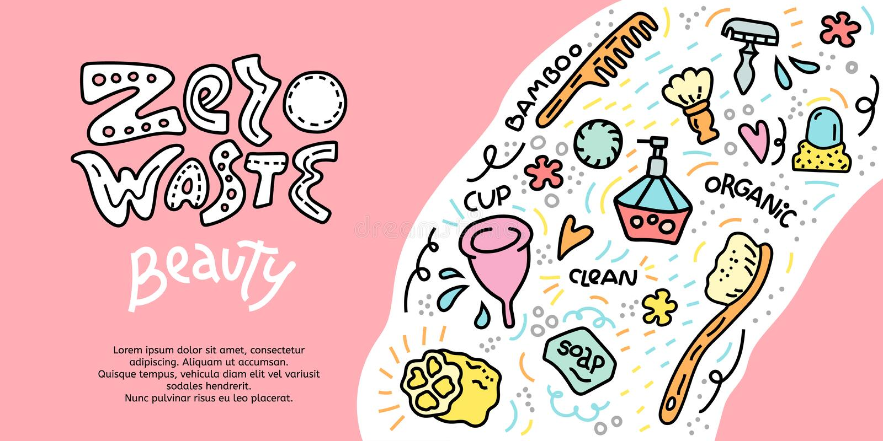 Cartel del doodle de basura cero, concepto de belleza ilustración del vector