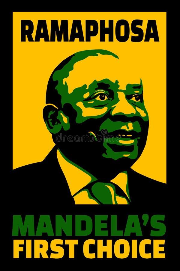 Cartel del ejemplo de la primera opción de Mandela de Ramaphosa para tenerlo éxito como jefe del partido de gobierno stock de ilustración