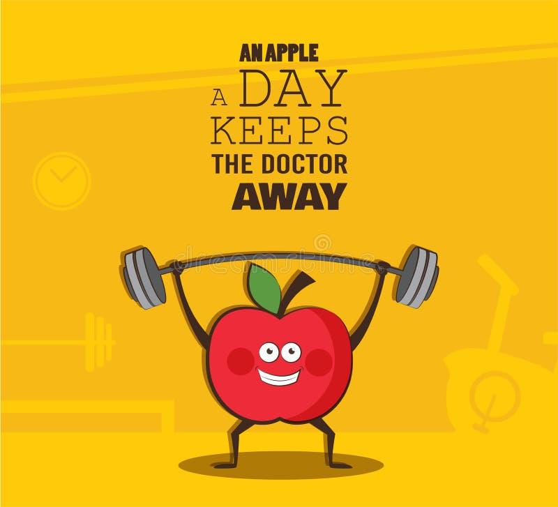 Cartel del ejercicio feliz de la manzana en un gimnasio Cartel sano de la motivación de la forma de vida stock de ilustración