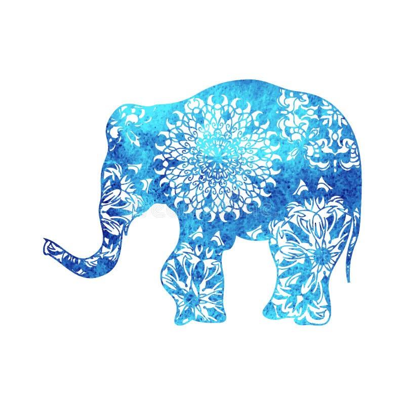 Cartel del elefante de la acuarela con los modelos y el marco tribales indios del ornamento foto de archivo libre de regalías