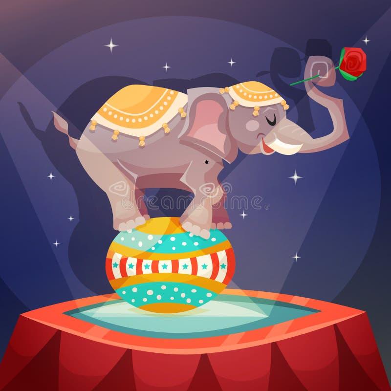 Cartel del elefante del circo stock de ilustración