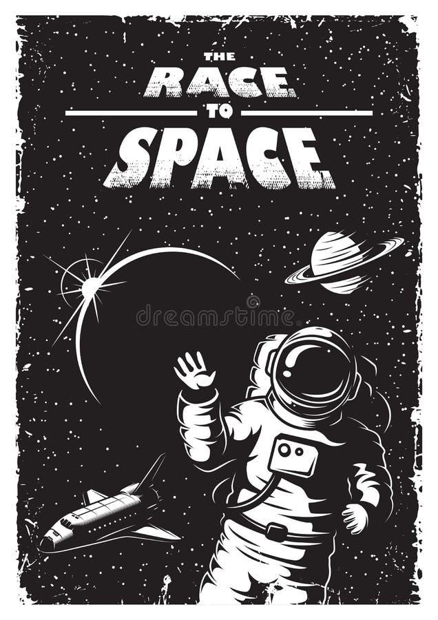 Cartel del espacio del vintage stock de ilustración
