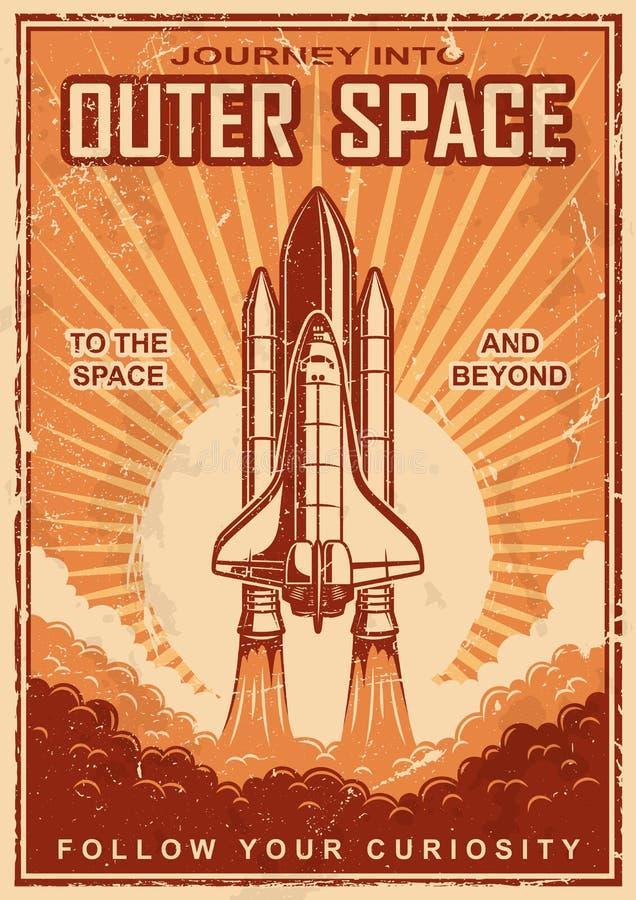 Cartel del espacio del vintage con la lanzadera ilustración del vector