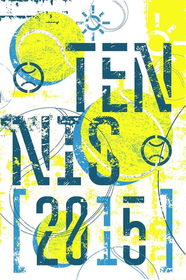 Cartel del estilo del grunge del vintage del tenis Ejemplo retro del vector con las pelotas de tenis libre illustration