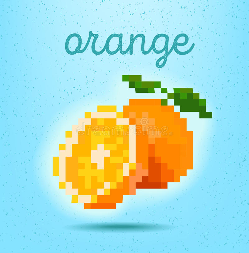 cartel del estilo del Pixel-arte con la fruta cítrica anaranjada de la fruta en b verde claro imagen de archivo libre de regalías