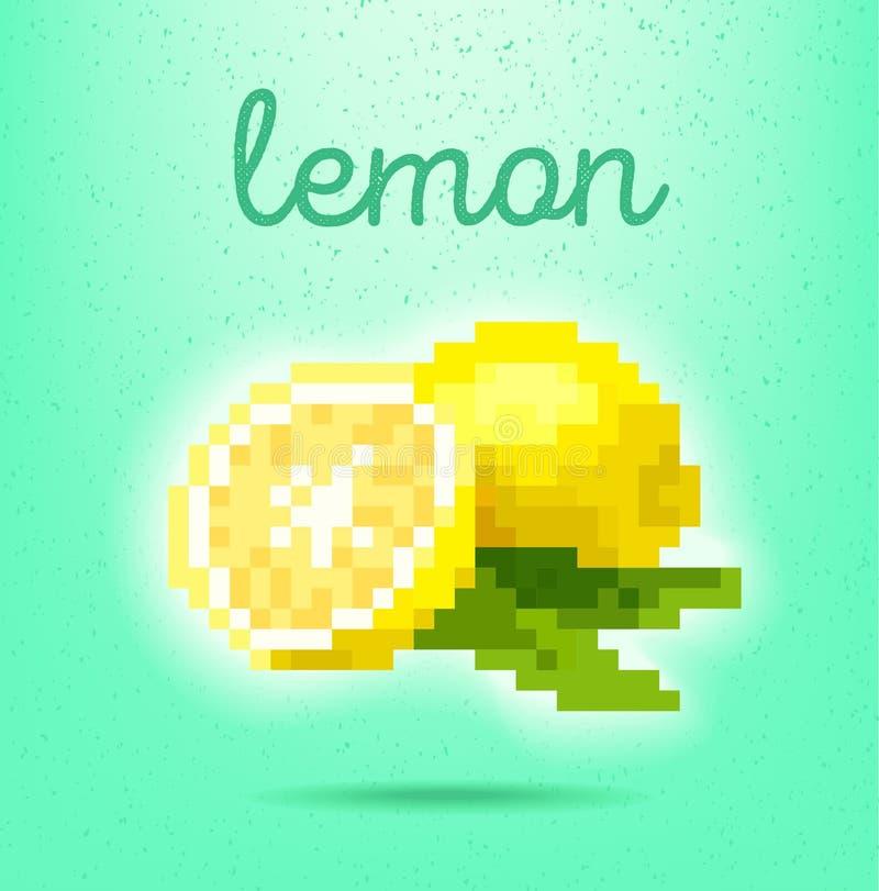 cartel del estilo del Pixel-arte con la fruta cítrica de la fruta del limón en vagos verdes claros fotos de archivo libres de regalías