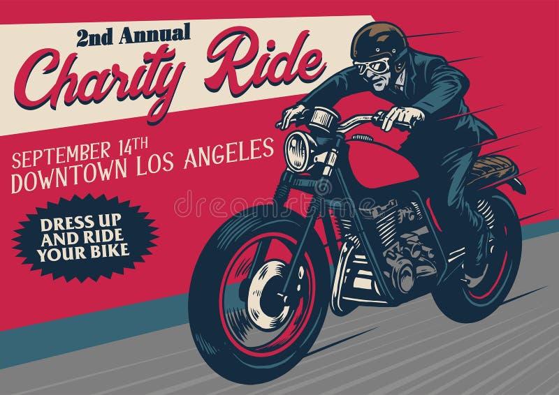 Cartel del evento de la motocicleta del viejo estilo libre illustration