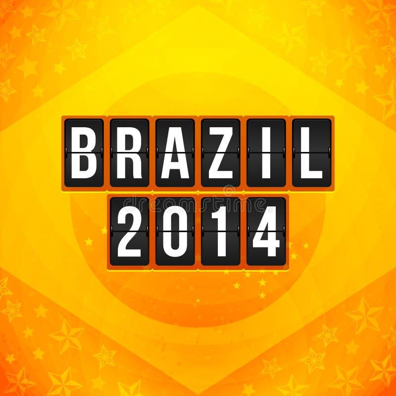 Cartel 2014 del fútbol del Brasil. Fondo amarillo-naranja brillante y stock de ilustración