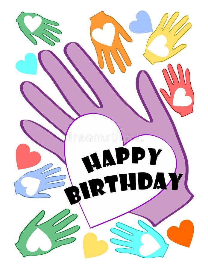 Cartel del feliz cumpleaños con el corazón multicolor en adorno de la palma libre illustration