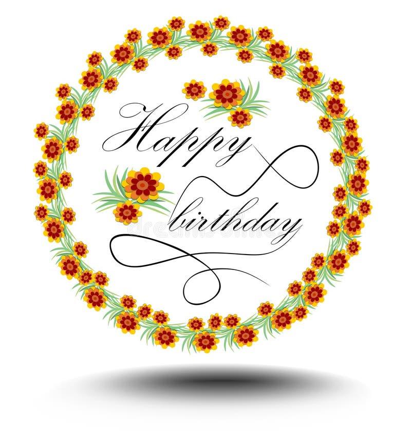 Cartel del feliz cumpleaños con la inscripción elegante caligráfica en guirnalda floral stock de ilustración