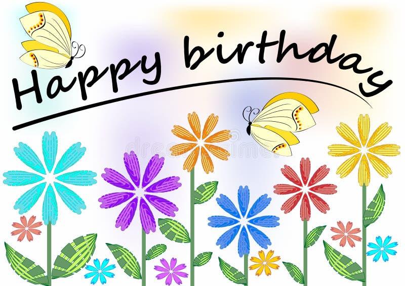 Cartel del feliz cumpleaños con las flores y las mariposas coloridas stock de ilustración