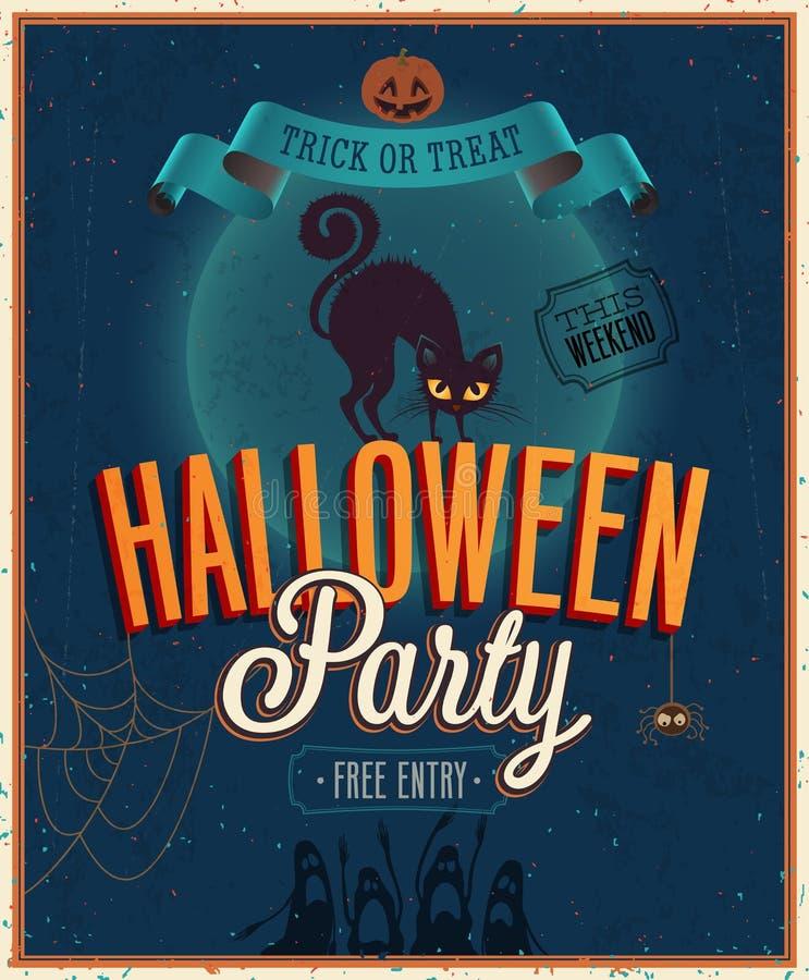 Cartel del feliz Halloween. ilustración del vector