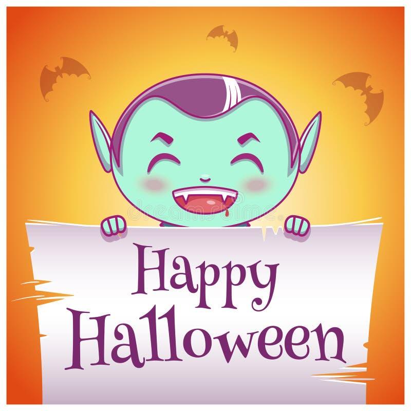 Cartel del feliz Halloween con el niño en el traje del vampiro con el pergamino en fondo anaranjado Partido del feliz Halloween libre illustration