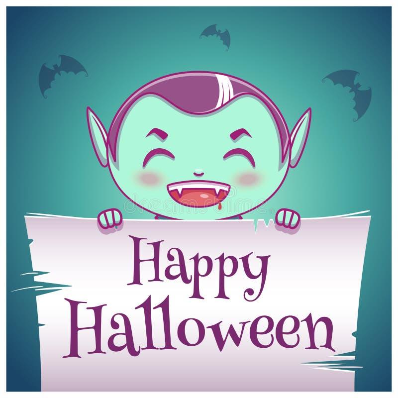 Cartel del feliz Halloween con el niño en el traje del vampiro con el pergamino en fondo azul marino Víspera de Todos los Santos  ilustración del vector