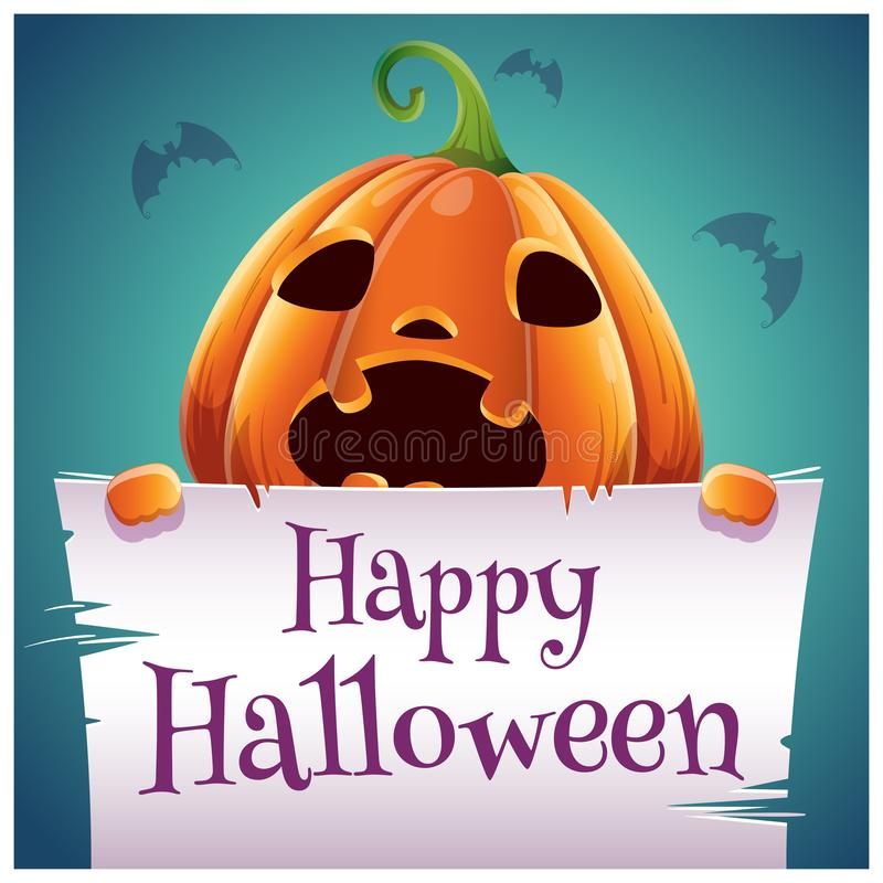 Cartel del feliz Halloween con la calabaza asustada con el pergamino en fondo azul marino Partido del feliz Halloween ilustración del vector