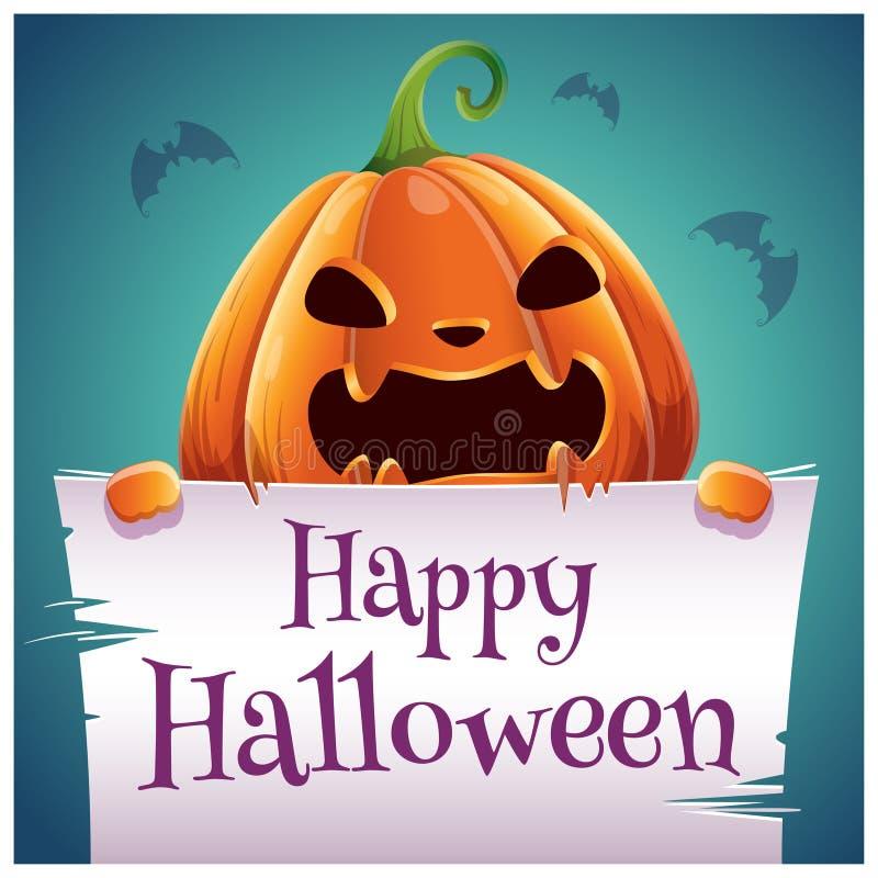 Cartel del feliz Halloween con la calabaza malvada enojada con el pergamino en fondo azul marino Partido del feliz Halloween stock de ilustración
