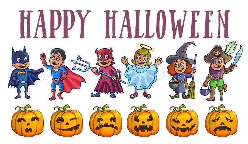 Cartel del feliz Halloween con los niños en trajes y calabazas ilustración del vector