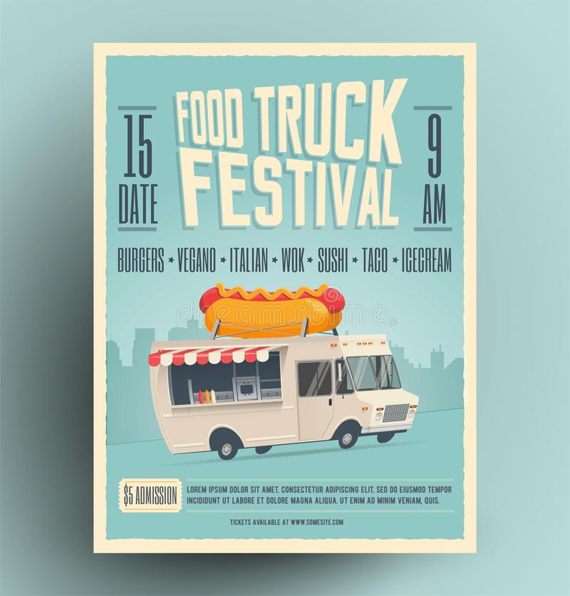 Cartel del festival del camión de la comida, aviador, diseño de la plantilla de la comida de la calle imágenes de archivo libres de regalías