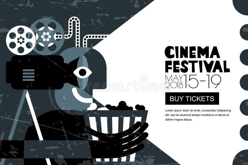 Cartel del festival del cine del vector, fondo del aviador La venta marca el fondo de la bandera Tiempo de película y concepto de stock de ilustración