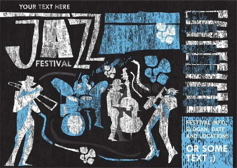 Cartel del festival de jazz del estilo del vintage libre illustration