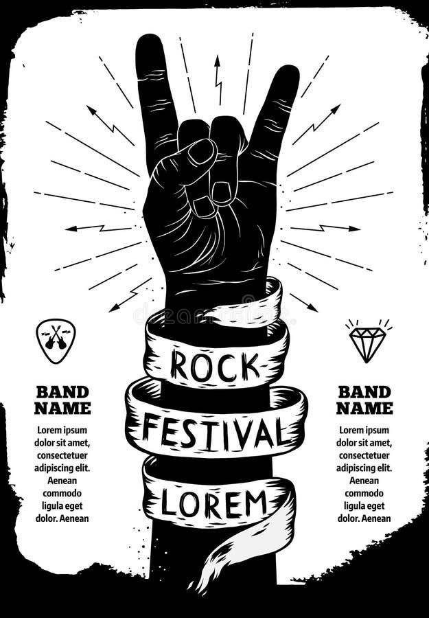 Cartel del festival de la roca Muestra de la mano del rock-and-roll stock de ilustración