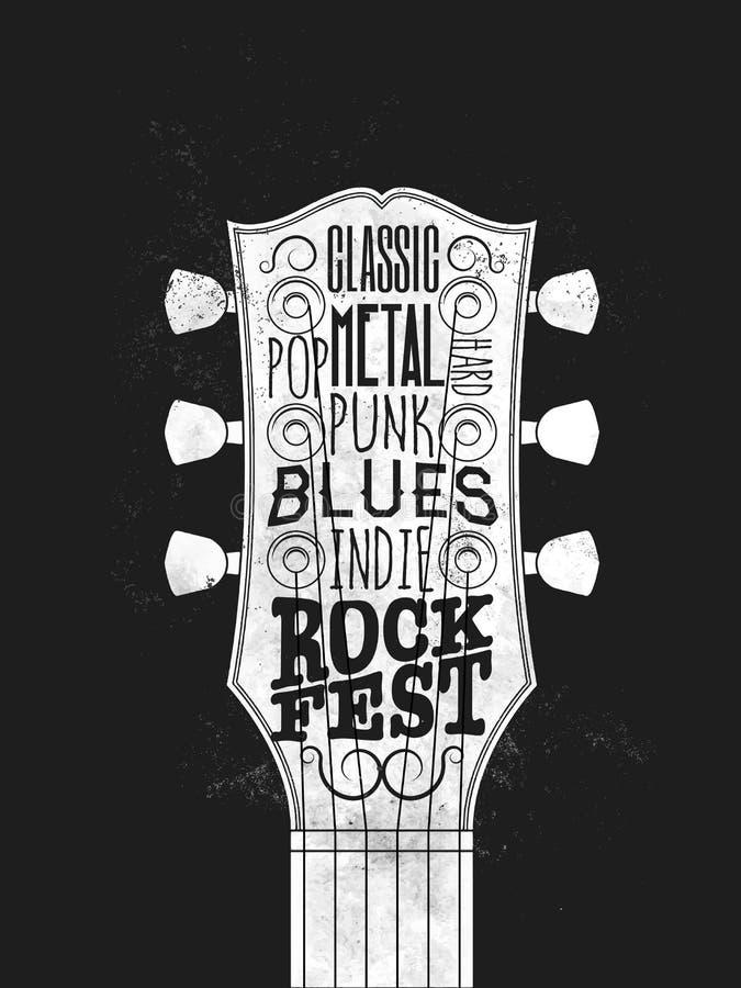 Cartel del festival de música rock El vintage diseñó el ejemplo del vector foto de archivo